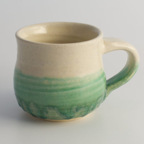 Green White Round Ceramic Mug